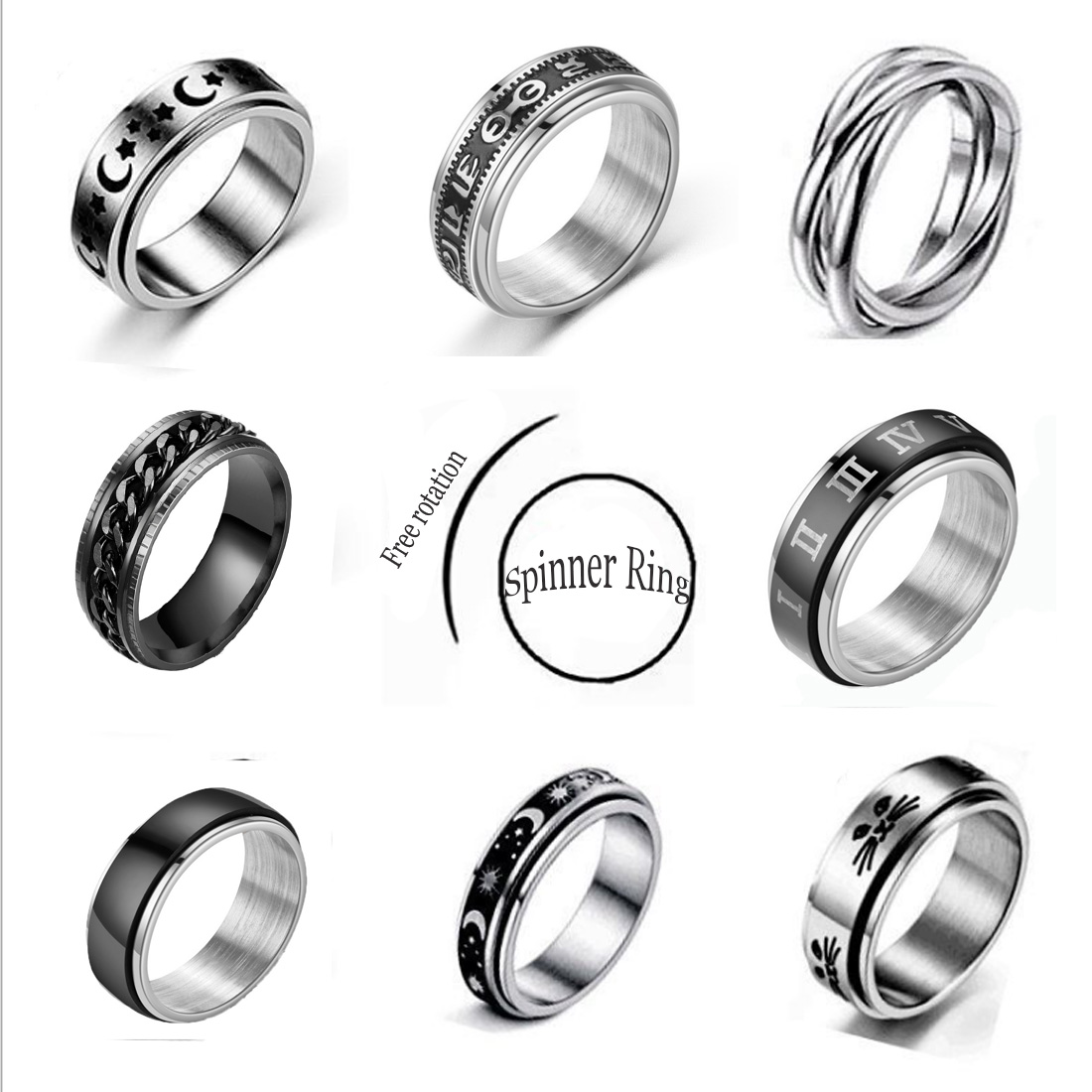 Stainless Steel Spinner Ring for Women Mens Fidget Band Rings Moon Star Celtic Stress Relieving Wide Wedding Anxiety Rings