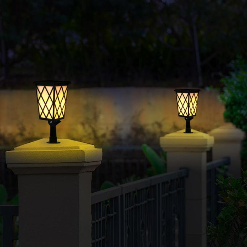 Işıklar ve Aydınlatma'ten Güneş Lambaları'de Su geçirmez sütun alev lambası güneş enerjili lamba kontrol 48 LED takılabilir açık avlu çit Stigma ayağı aydınlatma title=