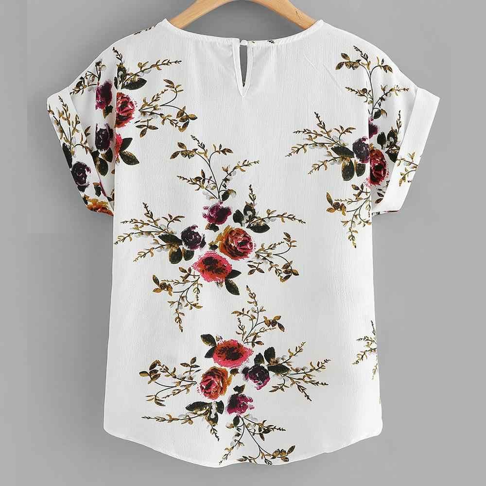 แฟชั่นฤดูร้อนดอกไม้พิมพ์เสื้อเสื้อสุภาพสตรี O-Neck Tee Tops ผู้หญิงเสื้อแขนสั้น Blusas Femininas เสื้อผ้า