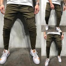 Men's Jeans Hole Stretch Jeans Denim Pant Fashion Slim Pleats Design Feet Pants Man's Tide Trousers modish solid color hole design narrow feet jeans for men