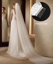 Moda casamento véu 3 metros 1 camada noiva cocar branco marfim simples véu de noiva com pente acessórios casamento novia velo