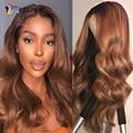 Парики из человеческих волос на сетке с застежкой 4x4, предварительно выщипанные коричневые волнистые волосы 13x1 T, парик на сетке, бразильски...