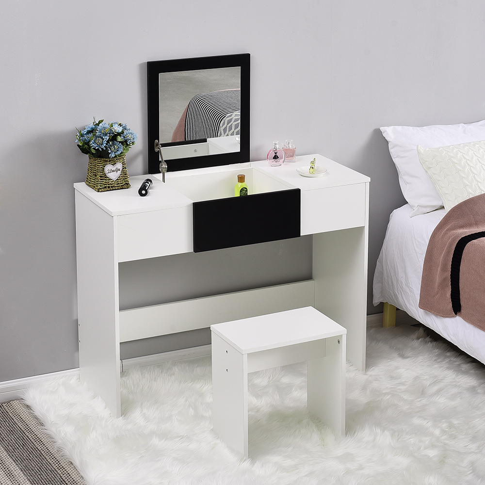 Dressing Modern Nordic MakeUp Table Furniture With Handy Lift Up Mirror With Storage Compartment