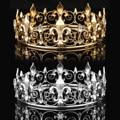 Оптовая продажа, круглые золотые аксессуары для выпускного вечера, королевская Мужская Корона, круглые золотые стразы, тиара