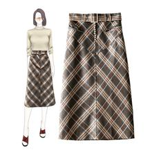 England style womens pencil skirts 2019 autumn women high quality belt plaid skirt  A938