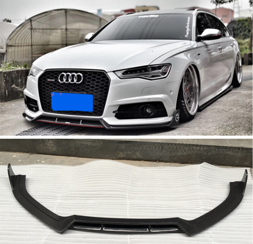 High Quality Carbon Fiber Front Lip Splitters Bumper Flaps Spoiler Cover For Audi A6 S6 RS6 Avant 2015 2016 2017 2018 Year image