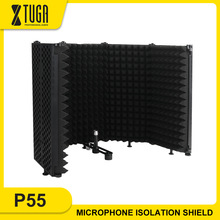 XTUGA 5 Pannels Studio Microphone Isolation Shield Foldable&Portable High Density Sound-Absorbing Foam Panel for Recording