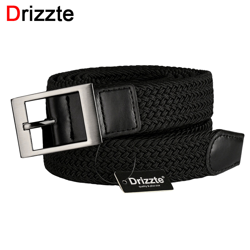 Drizzte Plus Size 120 to 190cm 43-75/'/' Men Stretch Elastic Belt Black Big Belts
