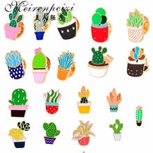 Kawaii Green Plants Potted Cactus Hard Enamel Brooch Pins Collar Clothes Hat Backpack Brooches Button Succulent Pin Jewelry cute brooch green enamel cactus brooches