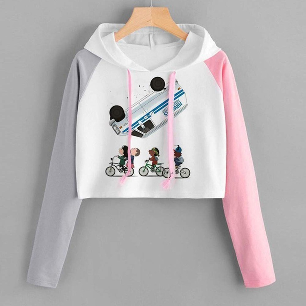 Fall Cropped Hoodie Slim Women Fluffy Casual Long Sleeve Hooded Sweatshirt Printed Drawstring Crop Top Tunic Hat White Pink bluz