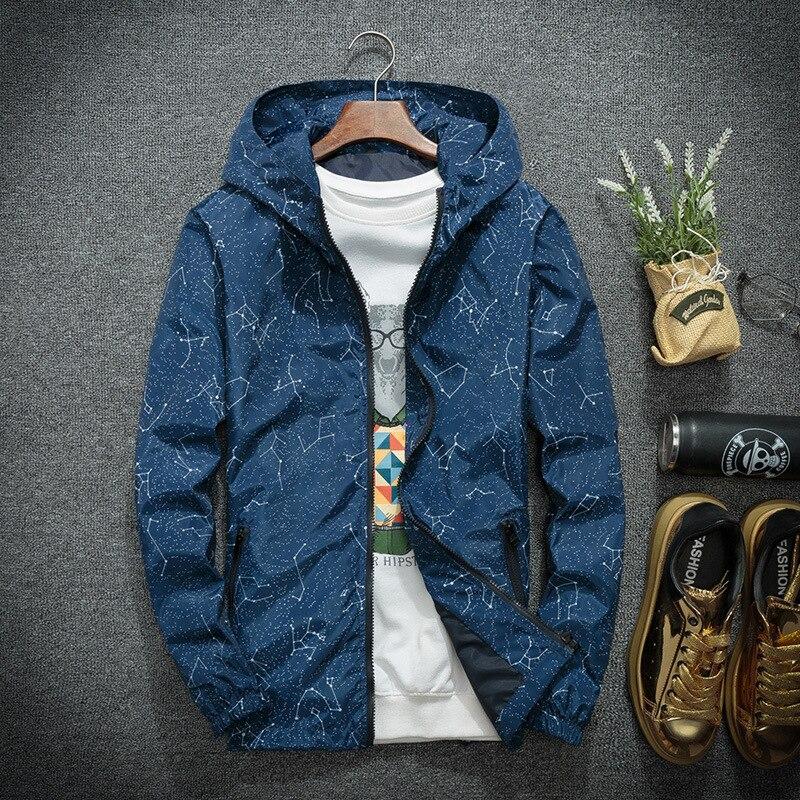 Мужская ветровка с капюшоном, Тонкая Повседневная куртка в стиле хип хоп, с принтом, весна осень 2019|Куртки| | АлиЭкспресс