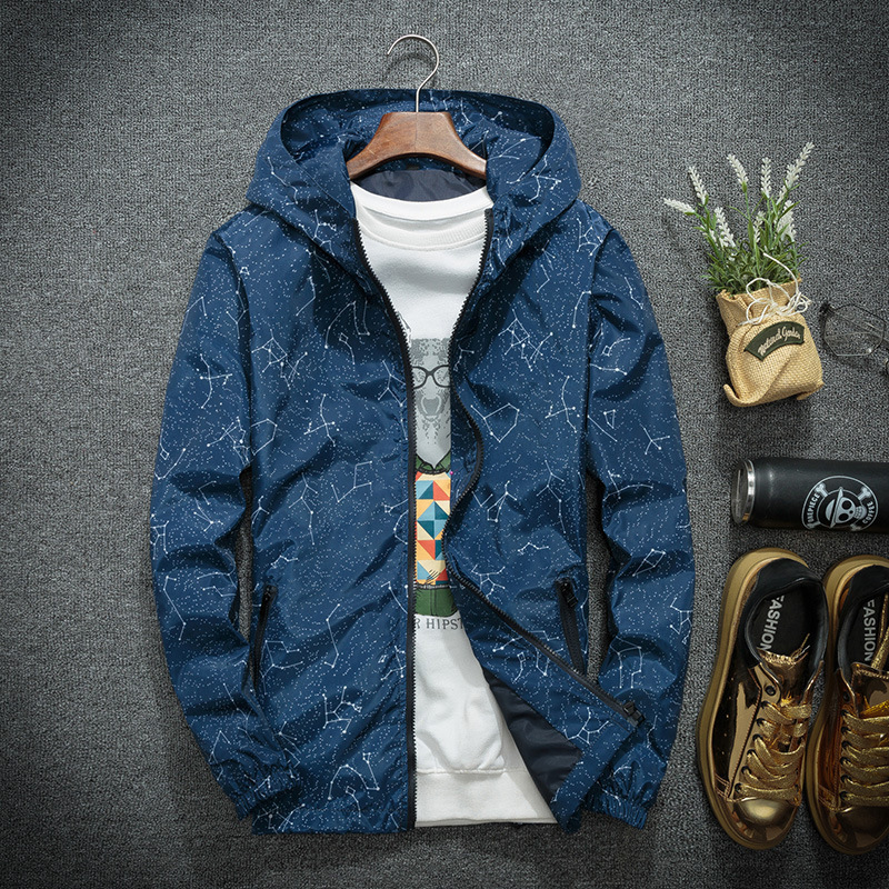 Spring Autumn Fashion Hip Hop Jacket Men's Hooded Casual Jackets Male Coat Thin Men Coat Outwear Jacket Men Windbreaker Printed