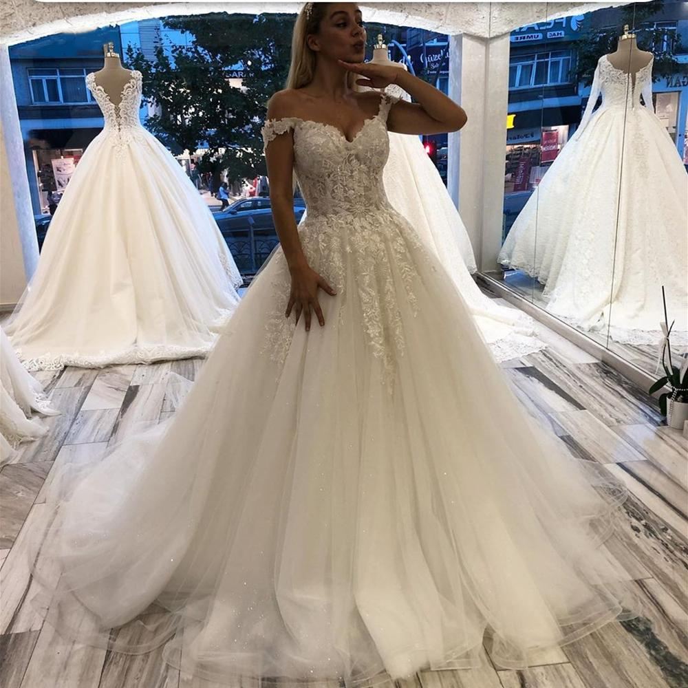 Gorgeous Wedding Dresses 2020 China For Women In Dubai Ball Gown Off Shoulder Turkey Lace Appliques Lebanon Bridal Gown