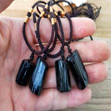 1PC Natural Crystal Black Necklaces Raw Stone Pendants Schorl Pillar Tourmaline Fashion Jewelry Accessories Gift