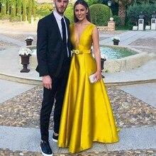 Золотое вечернее платье, сексуальное V Элегантное Атласное Вечернее платье, длинное вечернее платье с бантом на поясе, вечерние платья для выпускного вечера, vestido longo festa
