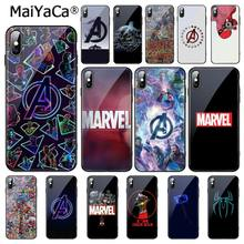 Maiyaca marvel vingadores logotipo homem de ferro spiderman vidro temperado caso de telefone para iphone 11 pro xr xs max 8x7 6 s 6 plus(China)