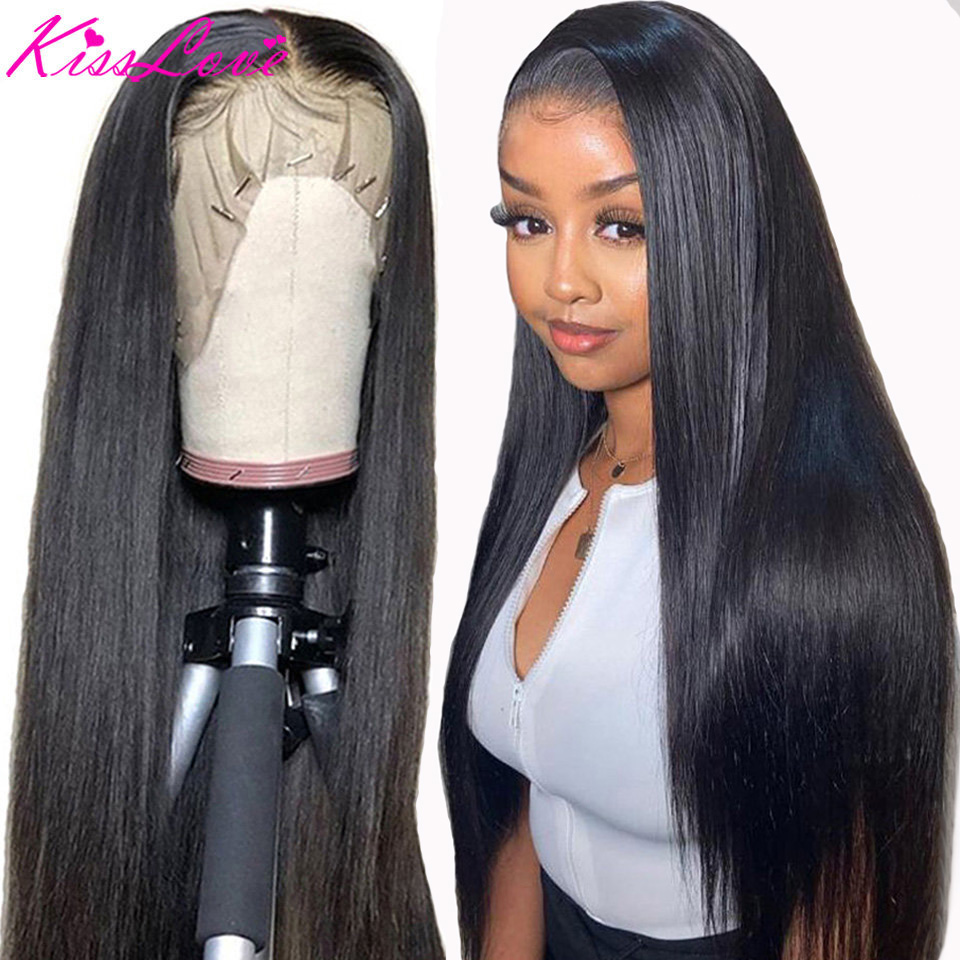 Closure-Wig Human-Hair-Wigs Lace-Frontal Remy-Kisslove Glueless Pre-Plucked 13x6 Straight