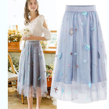 green black pink mesh tulle skirt girl  long midi korean style women skirts for elastic waist 2019 womens