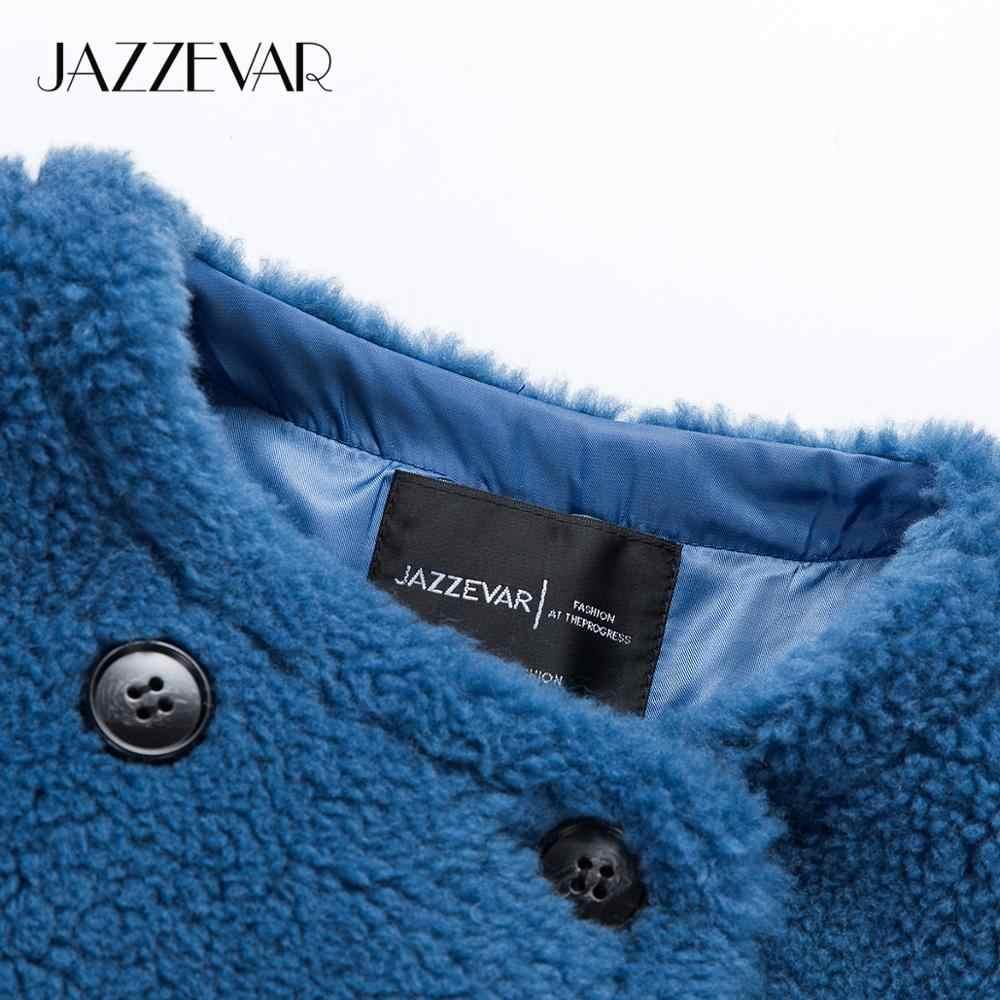 JAZZEVAR 2019 Winter neue ankunft pelz mantel frauen lose kleidung hohe qualität mid-länge stil dicke warme winter mantel k9064-1
