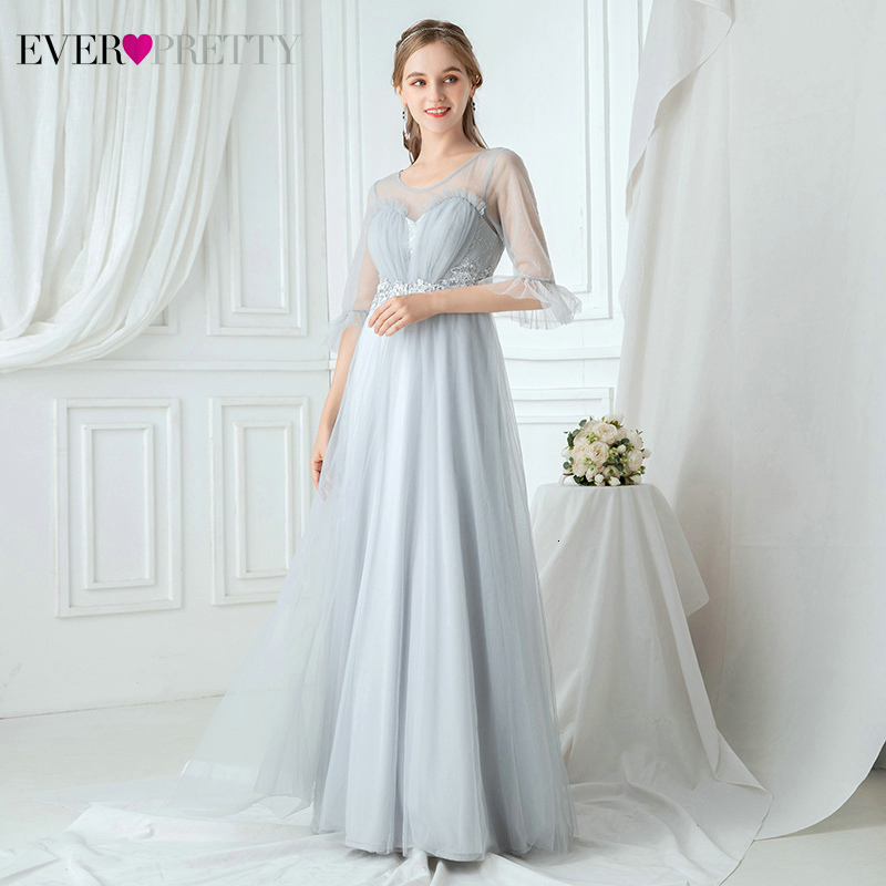 Illusion Grey Evening Dresses Ever Pretty EP00887GY Applqiues A-Line O-Neck Ruffles Sleeve Ruched Tulle Party Gowns Abendkleider