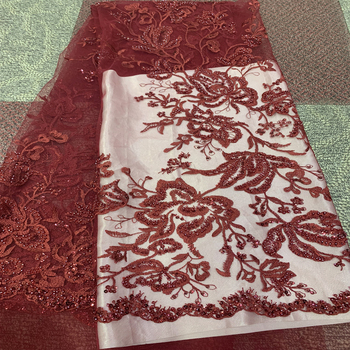 Latest Sliver African Lace Fabric 2019 Embroidered Nigerian Laces High Quality French Tulle Beaded For Wedding Party