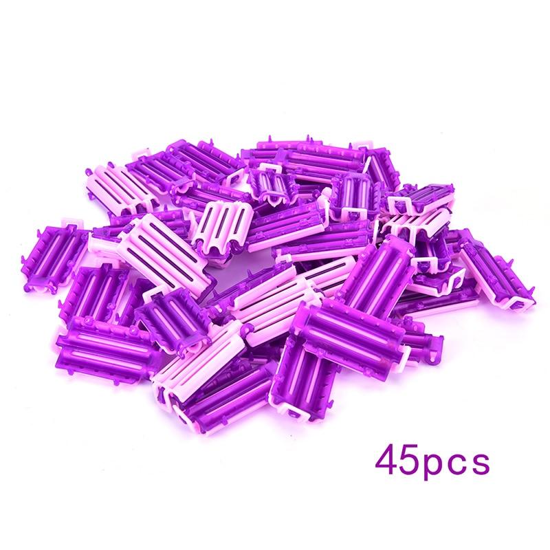 45 adet bigudiler kök kabarık kelepçeleri dalga perma çubuk DIY barlar mısır klipleri oluklu saç bigudi Curling Curlers Styler