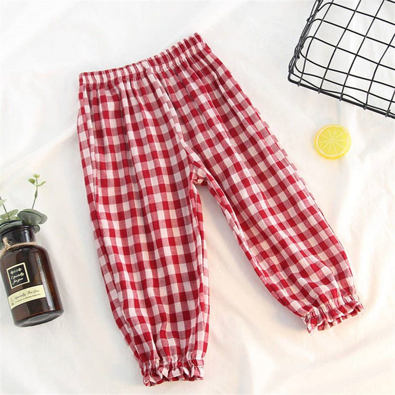 VIDMID Baby kids Boys girls cotton plaid pants trousers spring summer baby kids children casual fashion pants trousers P2082 4
