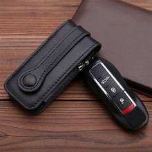 Leather Car Key Fob Cover Case For Porsche Cayenne Panamera Macan Cayman 911 718 Keychain Protector Cover Bag Auto Accessory