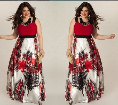 Europe And America New Style Large Size Dress Printing Slip Dress