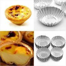Hot Sale 1pcs Nonstick Ripple Aluminum Alloy Egg Tart Mold Flower Shape Reusable Cupcake and Muffin Baking Cup Tartlets Pans New