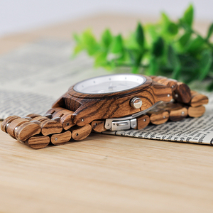Image 4 - Promosyon BOBOBIRD İzle şık ahşap Chronograph saatler ahşap kuvars kol saati en iyi hediye kutusu relogio masculino VQ18