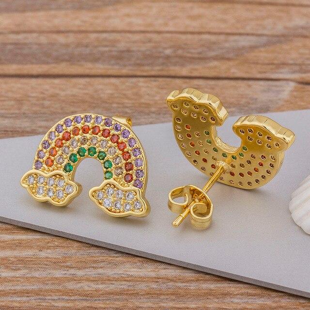 Hot Sale Fashion Rainbow Gold Stud Bar Earrings Jewelry For Woman Girls Top Quality Copper Zircon.jpg 640x640 - Hot Sale Fashion Rainbow Gold Stud Bar Earrings Jewelry For Woman Girls Top Quality Copper Zircon Earrings Best Birthday Gift