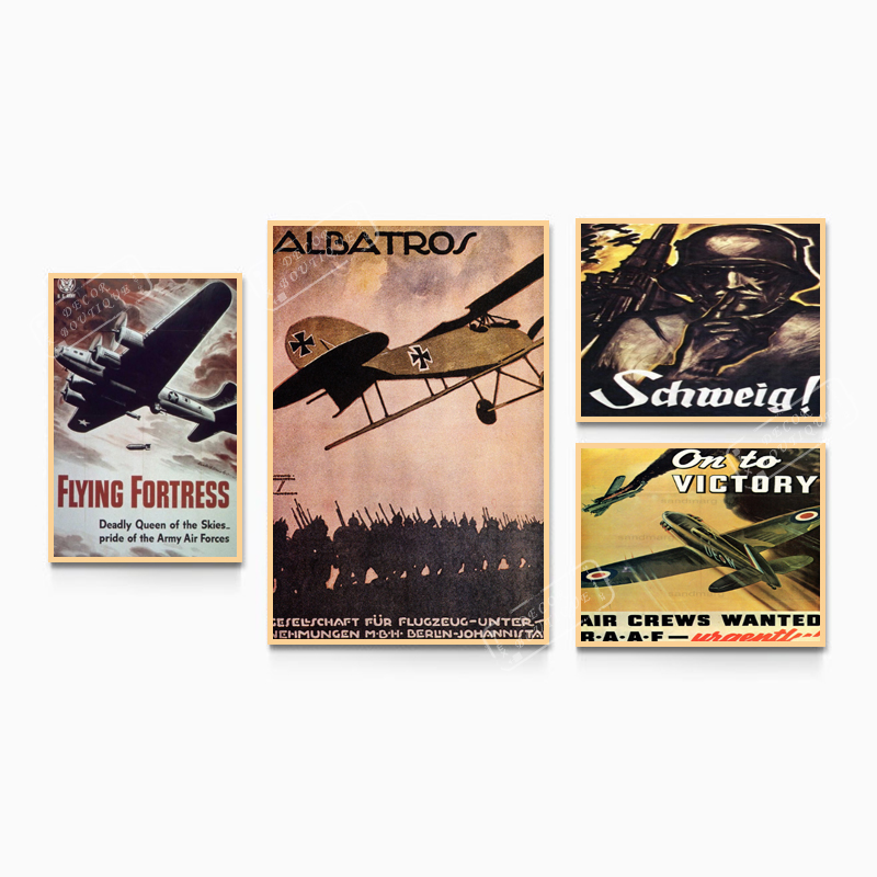 Vintage WW2 World War German Airplanes Classic Retro Kraft Poster Canvas Painting DIY Wall Stickers Home Bar Posters Decor image