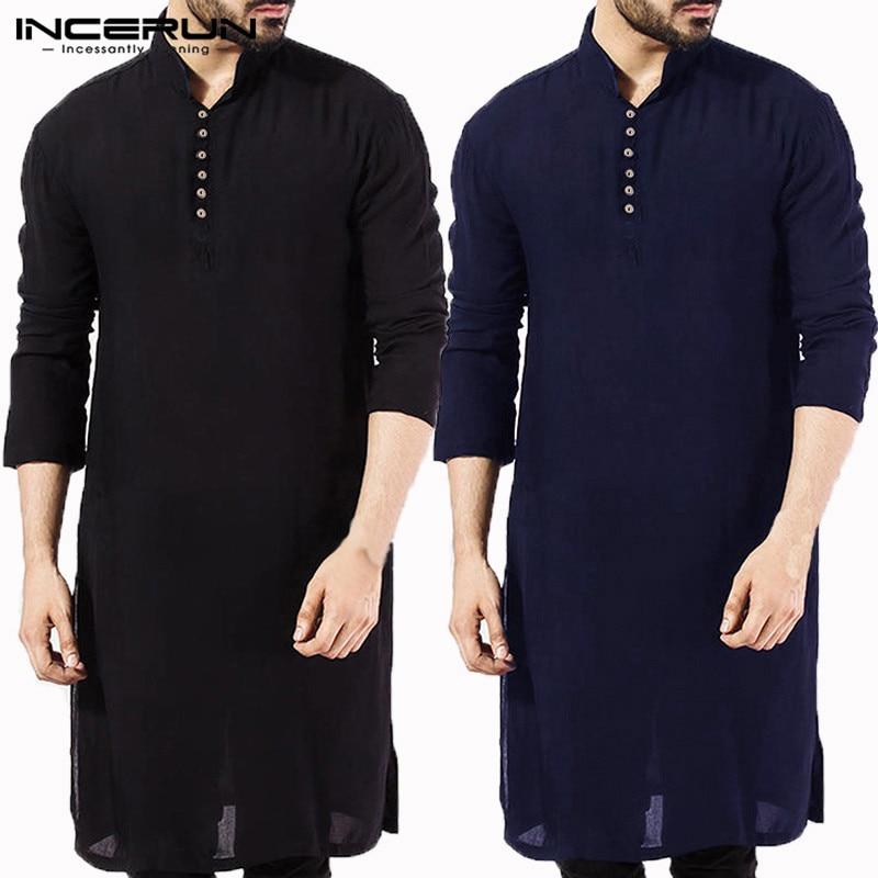 Masculina Stylish  Men Shirt Long Sleeve Mandarin  Dress Islamic Tops Chemise Robe Muslim Indian Clothes Hombre