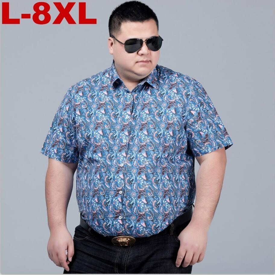 New Summer Mens Short Sleeve Beach Hawaiian Shirts Cotton Casual Floral Shirts Regular Plus Size 8xl 7xl Mens Clothing Fashion