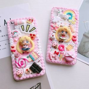 Image 3 - For iphone X/XS Max DIY case 3D sailor moon phone cover for iphone 8 7 6 6s plus XR handmade cream candy flower case girl gift
