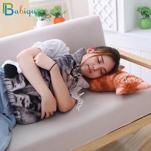 Image 5 - 1pc 50cm Simulation Plush Cat Sleeping Pillows Soft Stuffed Animals Cushion Sofa Decor Cartoon Plush Toys for Children Kids Gift