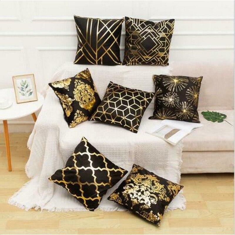 Nordic Style Cushion Cover 45x45 Cm Sofa Cushion Cover Cushions Decorative Bronzing Cushion Cover Gold Foil Printed Pillow Case