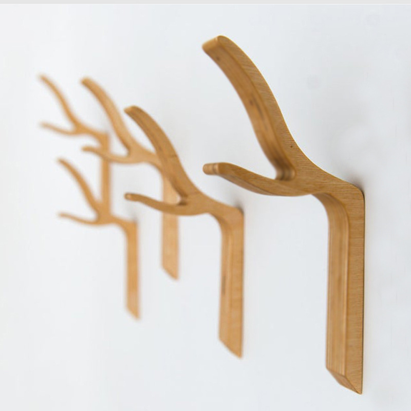 Wooden Antlers Key Hooks Solid Wood Wall Hangings Wall Wooden Creative Coat Hanger Hat Hooks Fitting Room One/five  Hook Racks