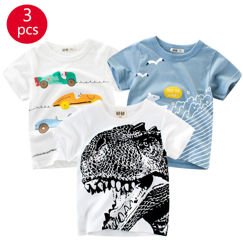 27kids 3pcs/lots 27kids 3pc Dinosaur Pattern Boys T Shirt for Kids Baby's Tops t-shirt Cotton Children Short Sleeve Clothes 4