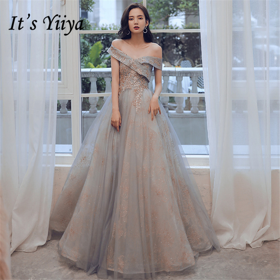 It's Yiiya Evening Dresses Long Off The Shoulder Gray Formal Dress For Women Plus Size Beading Lace robe de soiree 2020 E1279