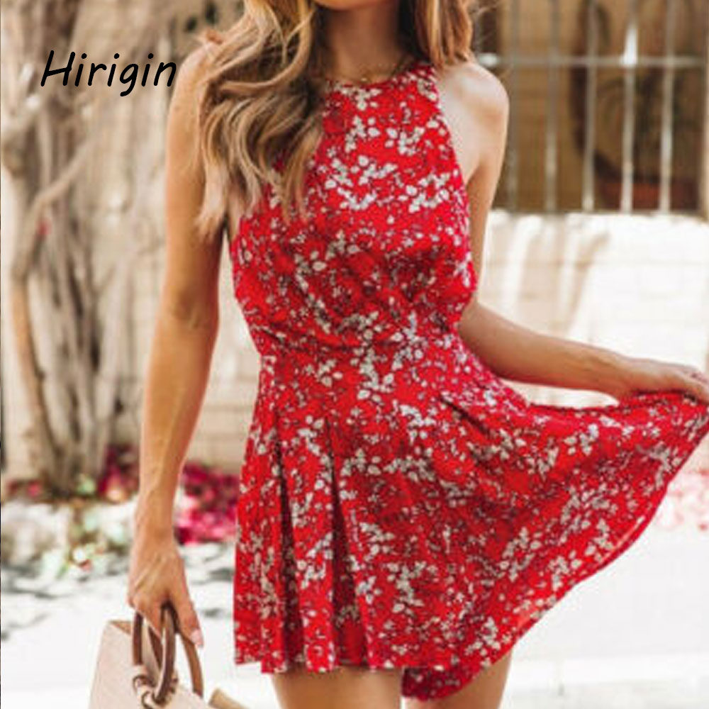 2020 Women Summer Halter Playsuits Vintage Boho Short Floral National Chiffon Rompers Party Beach Pants Floral Sundress Shorts