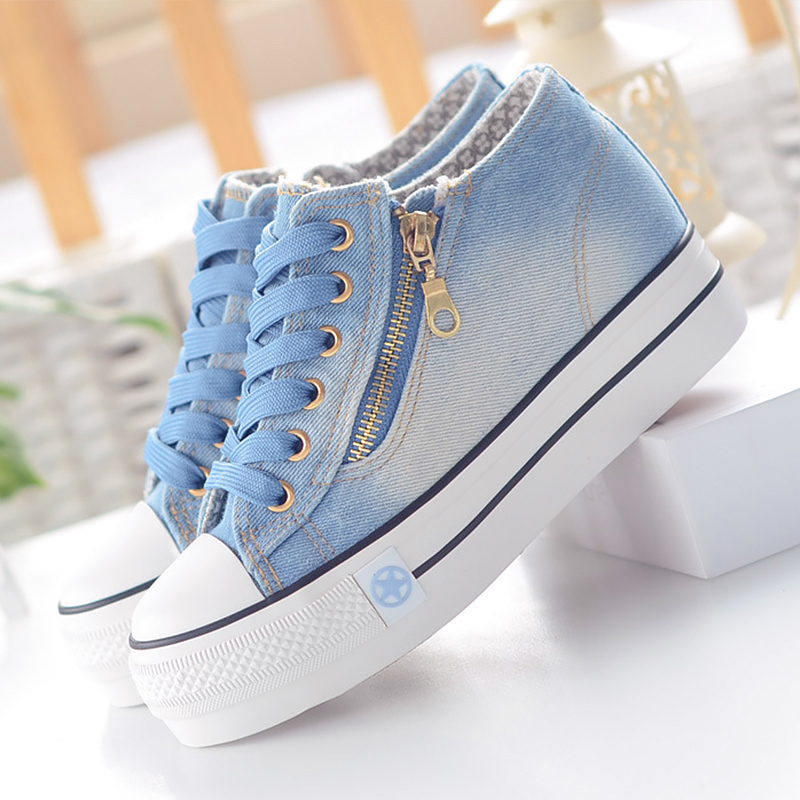 Fashion Zipper Chunky Sneakers Woman Increase Within 5CM Lace Up Comfy Canvas Shoes Women Shallow Rubber Female Footwear