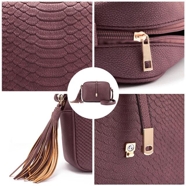 REALER small shoulder bag for women messenger bags ladies retro PU leather handbag purse with tassels female crossbody bag 5