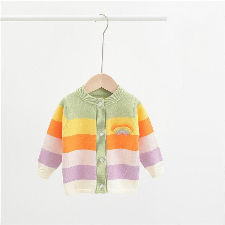 Купить кардиган для маленьких девочек свитер в радужную полоску осень