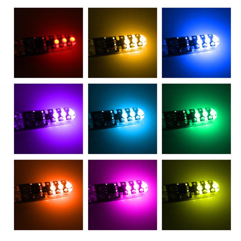 2шт t10 w5w rgb светодиодный светильник 12smd cob canbus 194