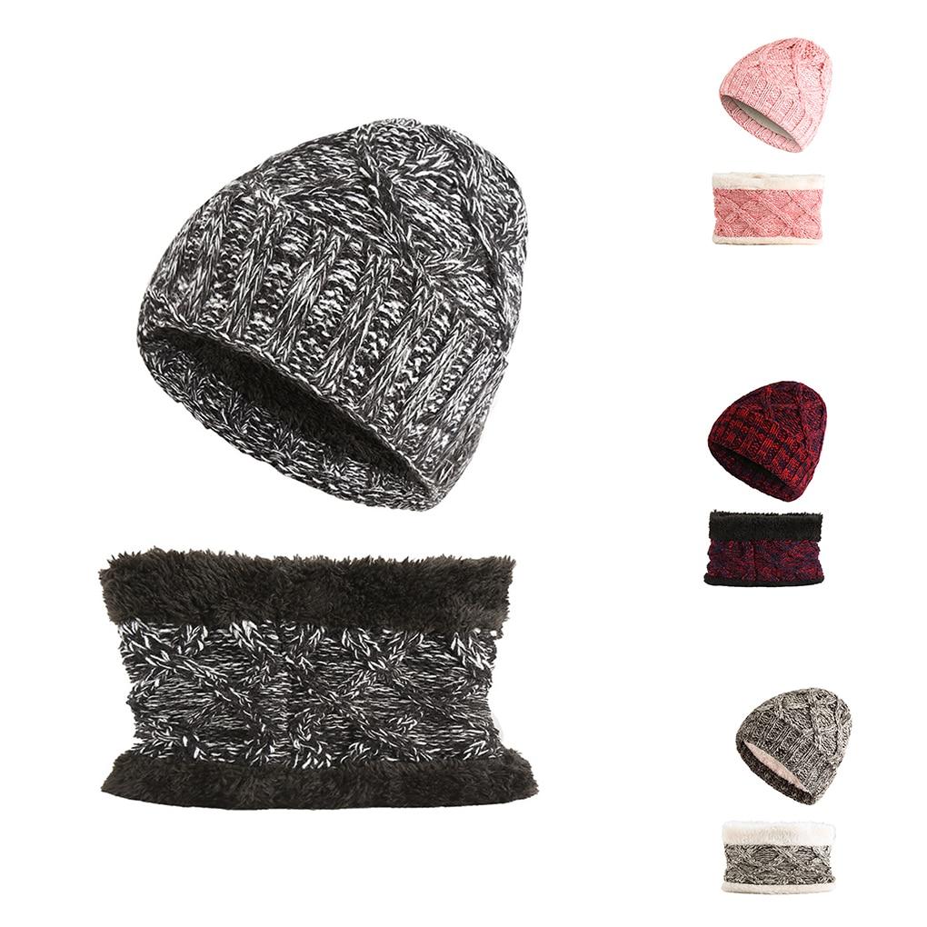 2Pcs Kids Winter Warm Knit  Beanies Hat Cute Cap For Girls Boys Caps Loop Scarf Set Velvet Lining Headwear Ski Cap