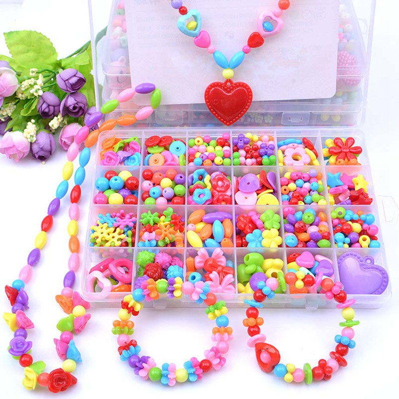 24 Slot Beads Sets Toy Children Diy Jewelry Necklace Bracelet Mixed Charms Bead Bow Flower Crystal Plastic Case Girl DIY Toy