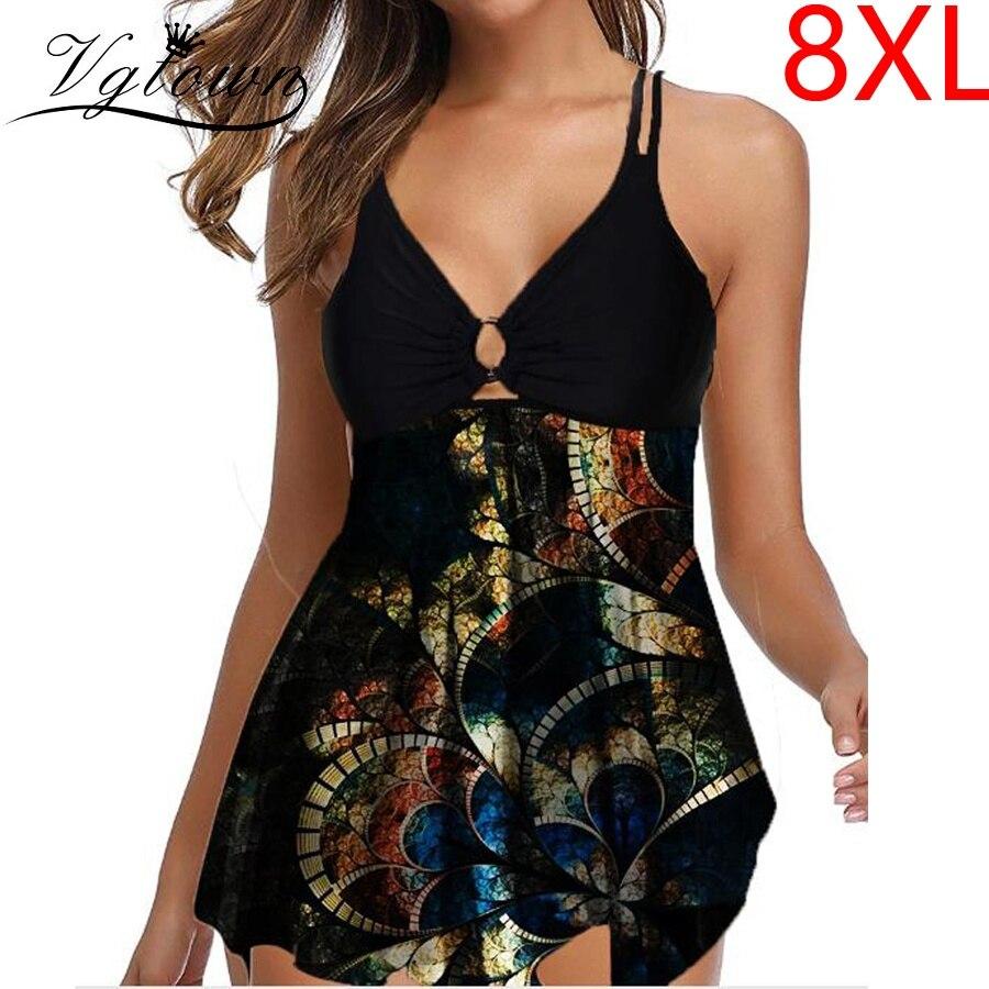 Plus size 8xl impressão tankini sexy maiô feminino push-up 2020 novo conjunto de biquíni praia divisão roupa de banho verão acolchoado plissado bandagem