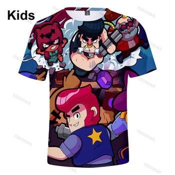Brawlers Spike and Star Leon dziecko dzieci Tshirt strzelanka 3d koszulka koszula dziewczyny Harajuku krótki płaszcz z rękawami chłopców ubrania tanie i dobre opinie BRAWL STARS CN (pochodzenie) POLIESTER Movie Anime Gaming Cosplay 3D Digital Printed Slant Patch Pocket Spring Autumn Winter
